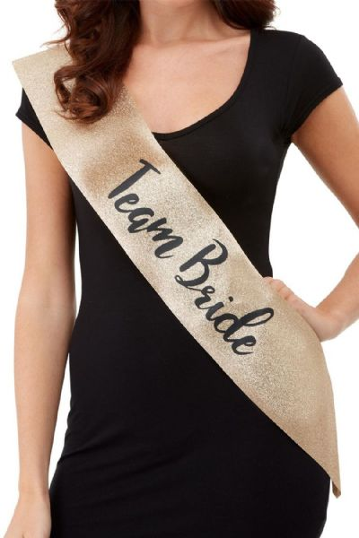 Deluxe Gold & Black - Team Bride Sash